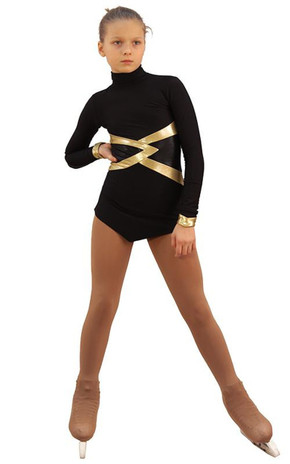 IceDress Figure Skating Dress - Thermal - Jackson 2 (Black with Gold and Black Lycra) 2nd view