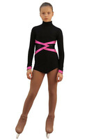 IceDress Figure Skating Dress - Thermal - Jackson 2 (Black with Pink and Black Lycra)