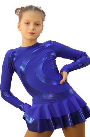 IceDress Figure Skating Dress - Thermal - Serpentine (Cornflower Blue with  Cornflower Lycra) 2nd view
