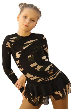 IceDress Figure Skating Dress - Thermal - Serpentine (Black and Military Light) 2nd view