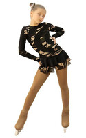 IceDress Figure Skating Dress - Thermal - Serpentine (Black and Military Light)