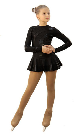 IceDress Figure Skating Dress - Thermal - Serpentine (Black with Black Lycra) 2nd view
