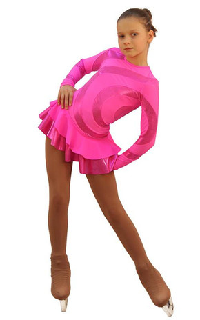 IceDress Figure Skating Dress - Thermal - Serpentine (Hot Pink with Lycra) 2nd view