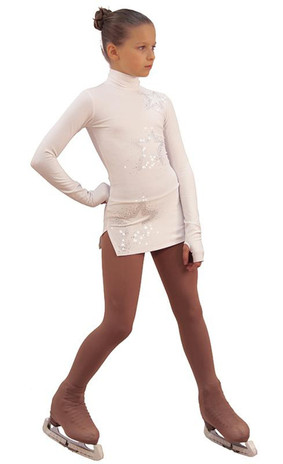 IceDress Figure Skating Dress - Thermal - Super Star (White with Rhinestones) 2nd view