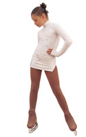IceDress Figure Skating Dress - Thermal - Super Star (White with Rhinestones)