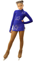 IceDress Figure Skating Dress - Thermal - Super Star (Cornflower Blue with Rhinestones)