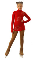 IceDress Figure Skating Dress - Thermal - Super Star (Red with Gold Rhinestones)