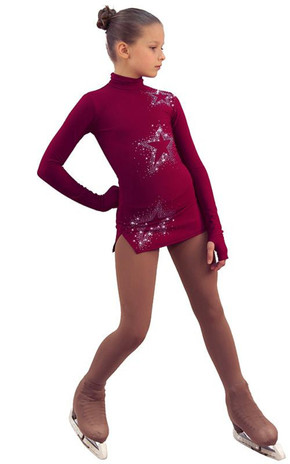 IceDress Figure Skating Dress - Thermal - Super Star (Bordeaux with Rhinestones) 2nd view