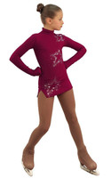 IceDress Figure Skating Dress - Thermal - Super Star (Bordeaux with Rhinestones)