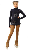IceDress Figure Skating Dress - Thermal - Super Star (Gray Blue Dark with Rhinestones)