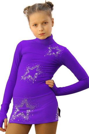 IceDress Figure Skating Dress - Thermal - Super Star (Purple with Rhinestones) 2nd view