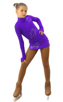 IceDress Figure Skating Dress - Thermal - Super Star (Purple with Rhinestones)