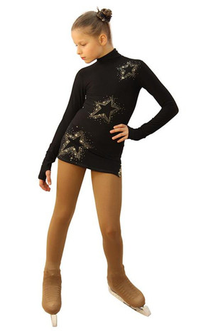 IceDress Figure Skating Dress - Thermal - Super Star (Black with Gold Rhinestones) 2nd view