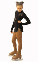 IceDress Figure Skating Dress - Thermal - Super Star (Black with Gold Rhinestones)