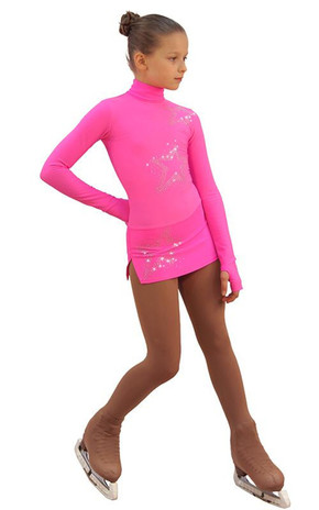 IceDress Figure Skating Dress - Thermal - Super Star (Hot Pink with Rhinestones) 2nd view