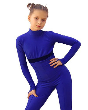 IceDress Figure Skating Overalls - Thermal - Style (Cornflower Blue with Velvet Trim) 2nd view