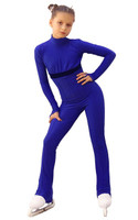 IceDress Figure Skating Overalls - Thermal - Style (Cornflower Blue with Velvet Trim)