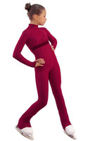 IceDress Figure Skating Overalls - Thermal - Style (Bordeaux with Velvet Trim)