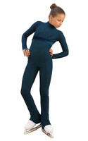 IceDress Figure Skating Overalls - Thermal - Style (Dark Blue with Velvet Trim)