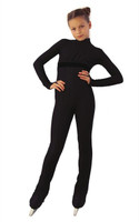IceDress Figure Skating Overalls - Thermal - Style (Black with Velvet Trim)