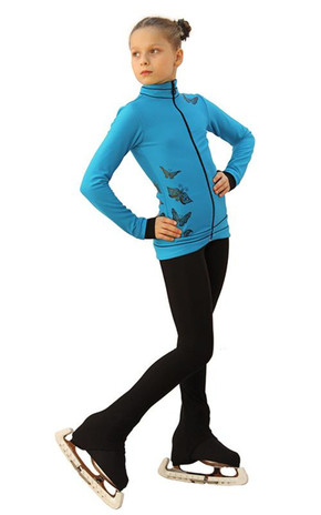IceDress Figure Skating Outfit - Thermal - Flying (Blue with Black) 2nd view