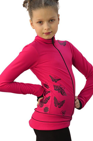 IceDress Figure Skating Outfit - Thermal - Flying (Raspberry with Black) 2nd view