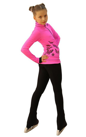 IceDress Figure Skating Outfit - Thermal - Flying (Hot Pink with Black) 2nd view