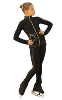IceDress Figure Skating Outfit - Thermal - Gold Star (Black and Gold)