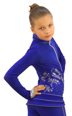 IceDress Figure Skating Outfit - Thermal - Shine (Cornflower Blue with Silver) 2nd view