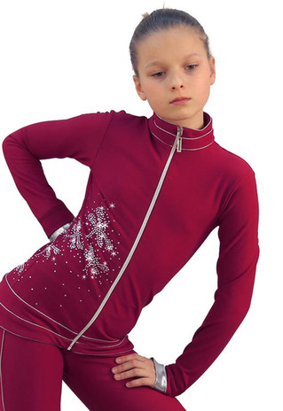 IceDress Figure Skating Outfit - Thermal - Shine (Bordeaux with Silver) 2nd view