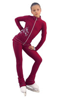 IceDress Figure Skating Outfit - Thermal - Shine (Bordeaux with Silver)