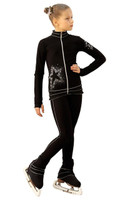 IceDress Figure Skating Outfit - Thermal - Silver Star (Black and Silver)