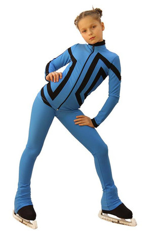 IceDress Figure Skating Outfit - Thermal - Vanguard - Sport (Blue with Black) 2nd view
