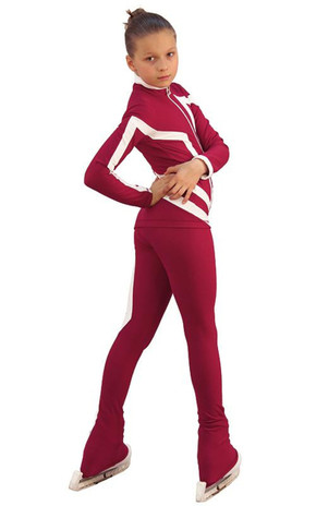 IceDress Figure Skating Outfit - Thermal - Vanguard - Sport (Bordeaux with White) 3rd view