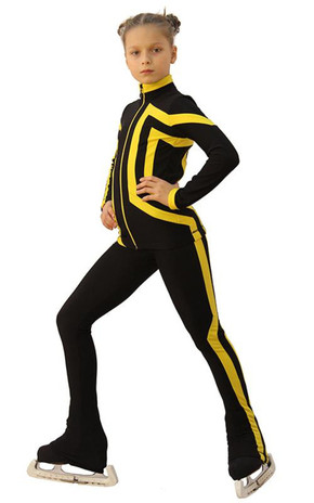 IceDress Figure Skating Outfit - Thermal - Vanguard - Sport (Black with Yellow) 2nd view