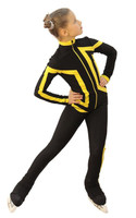 IceDress Figure Skating Outfit - Thermal - Vanguard - Sport (Black with Yellow)