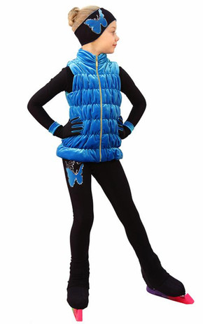 IceDress Figure Skating Outfit - Thermal - Velvet Butterfly with Vest (Blue) 2nd view