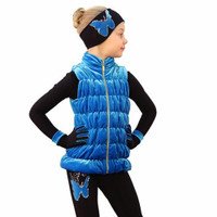IceDress Figure Skating Outfit - Thermal - Velvet Butterfly with Vest (Blue)