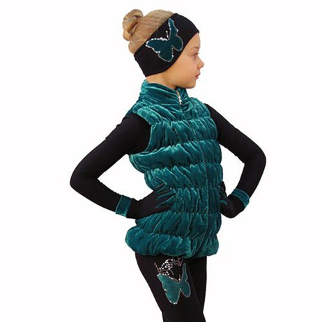 IceDress Figure Skating Outfit - Thermal - Velvet Butterfly with Vest (Emerald) 2nd view
