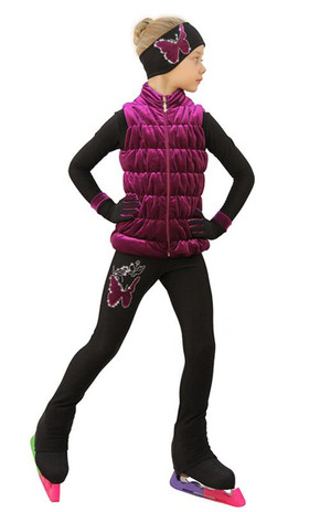 IceDress Figure Skating Outfit - Thermal - Velvet Butterfly with Vest (Fuchsia) 2nd view
