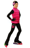 IceDress Figure Skating Outfit - Thermal - Velvet Butterfly with Vest (Hot Pink)