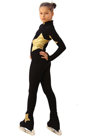 IceDress Figure Skating Outfit - Thermal - Little Star (Black with Gold) 2nd view