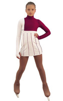IceDress Figure Skating Dress - Thermal - IceFashion (White and Bordeaux)