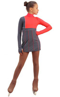 IceDress Figure Skating Dress - Thermal - IceFashion (Light Grey and Hot Coral) 2nd view