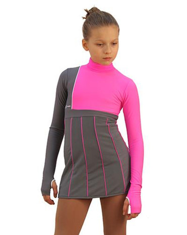 IceDress Figure Skating Dress - Thermal - IceFashion (Light Grey and Hot Pink) 2nd view