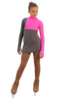 IceDress Figure Skating Dress - Thermal - IceFashion (Light Grey and Hot Pink)