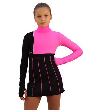 IceDress Figure Skating Dress - Thermal - IceFashion (Black with Hot Pink) 2nd view