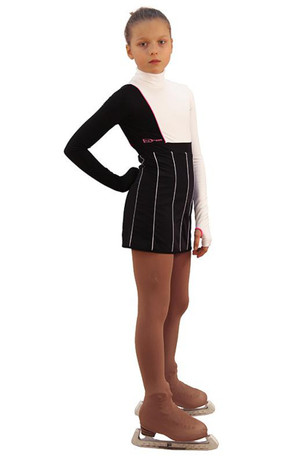 IceDress Figure Skating Dress - Thermal - IceFashion (Black with White) 2nd view