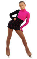 IceDress Figure Skating Dress - Thermal - IceFashion (Black with Fuchsia) 2nd view