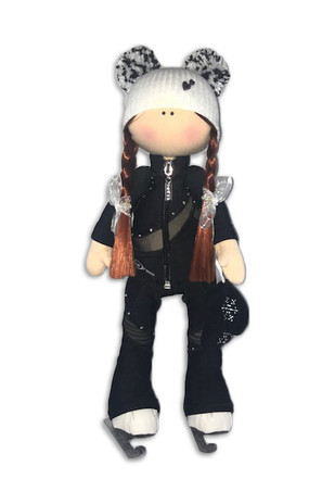 Tilda Doll by IceDress- Figure Skater - Cascade Outfit  (Black with Rhinestones)